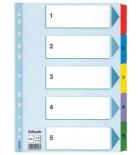 Skiriamieji lapai segtuvams A4 Esselte kartoniniai 1-5 spalvoti skaičiai