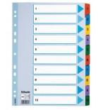 Skiriamieji lapai segtuvams A4 Esselte kartoniniai 1-10 spalvoti skaičiai