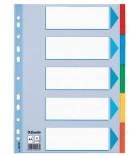 Skiriamieji lapai segtuvams A4 Esselte kartoniniai 5sk.spalvų